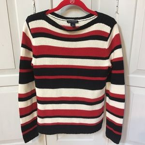Ann Taylor Striped Cotton Pullover Sweater